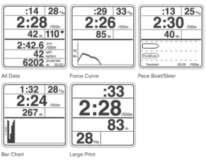Concept2 PM5 Display Options