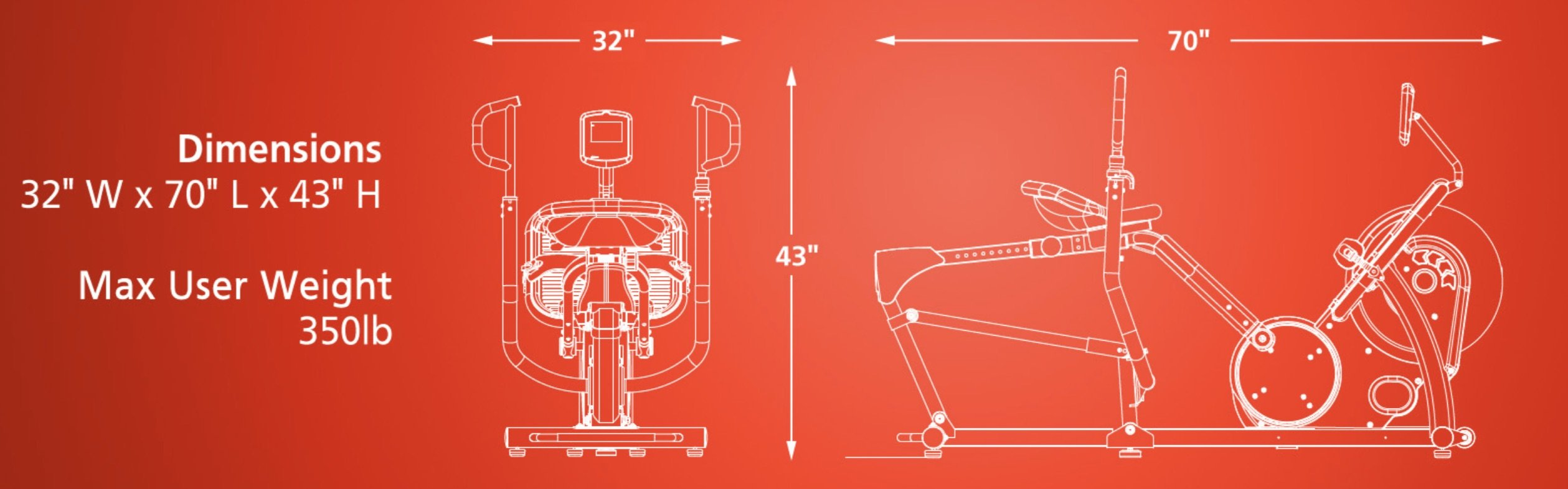 Inspire CR2 Cross Rower Dimensions
