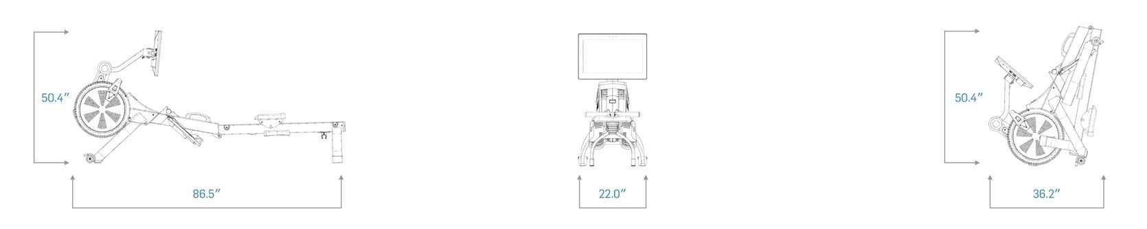 NordicTrack RW900 Rowing Machine Dimensions